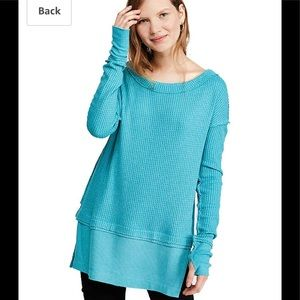 NWT Free People North Shore Thermal In Aqua Bright